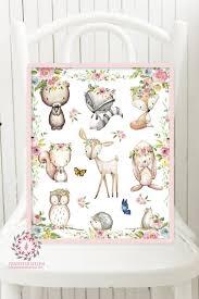 Woodland Animal Nursery Decor by Woodland Animals Deer Bunny Fox Boho Bohemian Printable Wall Art