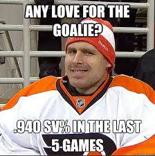 Soccer Hockey Meme - any love for the goalie 940 sv in the last 5 games ilya