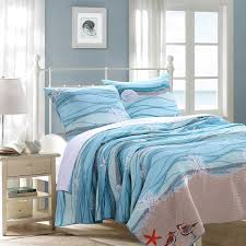 amazon com 3 piece king ocean themed quilt set coastal sea blue