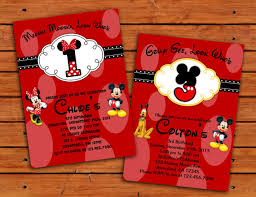 minnie and mickey mouse birthday party invitation 4x6 or 5x7