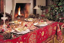 Xmas Table Decorations by Decorations Vintage Tablecloth With Pine Seeds Ornament