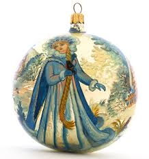 russian snowgirl collectible glass lacquer painted ornament