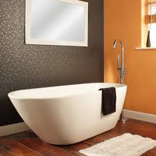 bathroom horizontal curtain wall accent oval mat window full size dark wood tile white mat orange stained wall modern freestanding tub bathroom window