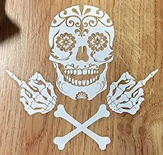 amazon com osmdecals sugar skull and crossbones sticker