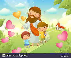 jesus christ walking with two children stock photo royalty free