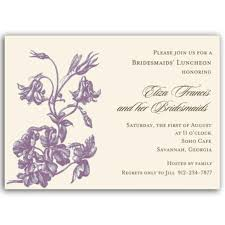 bridesmaid luncheon invitation wording floral purple on bridal luncheon invitations paperstyle