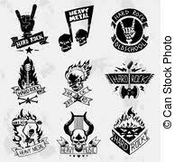 heavy metal rock banner tattoo an original hand drawn vector