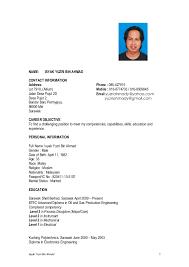 Cabin Crew Resume Example by Isyak Yuzri Ahmad Resume