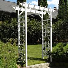 shop dura trel 64 in w x 85 in h white garden arbor at lowes com