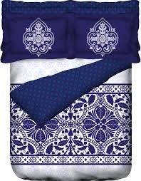 buy portico blue cotton king size bed linen 107029070632 online