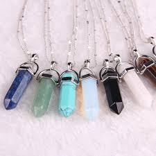 stone necklace pendants images Natural stone pendant bullet jade suspension color quartz jpg