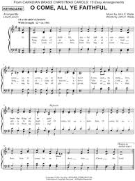 download digital sheet music of o come all ye faithful for