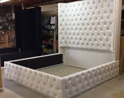 tall headboard beds tufted bed etsy