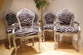silver louis style chairs with zebra print fabric painted vintage