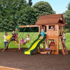 Wooden Backyard Playsets Backyard Discovery Atlantis Cedar Wooden Swing Set Home Outdoor