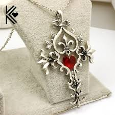 men crystal necklace images The vampire diaries vintage sacred heart cross statement necklace jpg