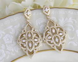 Chandelier Earrings Etsy Gold Bridal Earrings Etsy