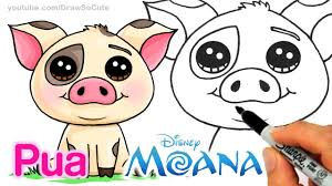 how to draw moana pua pig step by step cute and easy disney
