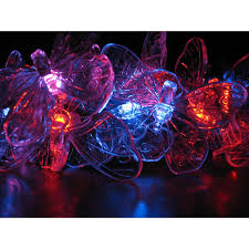 Orange Solar String Lights by String Lights 20 Led Color Changing Butterflies