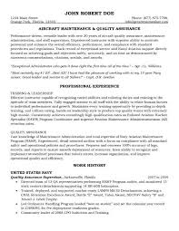 Resume Templates For Government Jobs Quality Assurance Resume Aircraft Maintenance And Quality