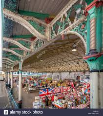 victorian canopy over open market stock photo