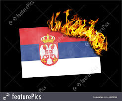 Flag Of Serbia Flag Burning Serbia Stock Picture I4439298 At Featurepics