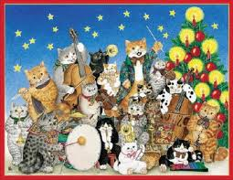 270 best whimsical christmas cat art images on pinterest