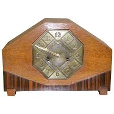 Mantle Piece Clock Striking Art Deco Mantle Clock With Mixed Wood And Brass Detail