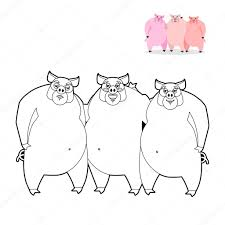 3 pig coloring book pigs linear style funny