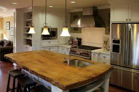 wood kitchen island wooden edge countertops low hanging lighting modern