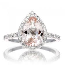 pear engagement ring morganite diamond halo engagement ring