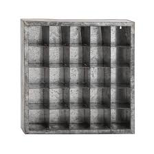 post office style galvanized metal wall cabinet with open cubicles