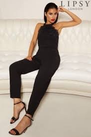 top jumpsuit buy lipsy halter neck lace top jumpsuit from the uk shop