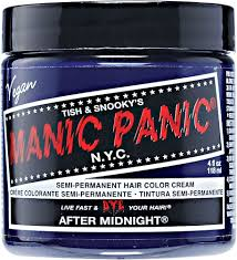 manic panic semi permanent after midnight blue hair color cream