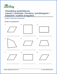 Math Worksheets For 5th Grade Grade 5 Geometry Worksheets Free Printable K5 Learning