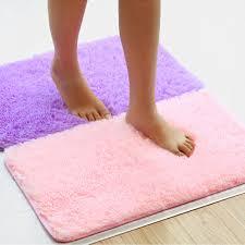 Coral Color Bathroom Rugs 1pc Candy Color Doormat Carpet Floor Water Absorption Mats Coral