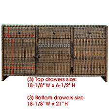 espresso 3 drawers wicker rattan buffet serving cabinet table