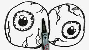 how to draw two cartoon halloween eyeballs easy doodle for kids