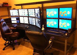 computer desk for dual monitors how to run monitors workspace monitor