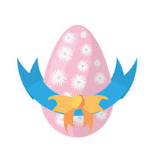 Easter Egg Decoration Vector by Easter Pink Egg Bow Decoration Cut Line Vector Image