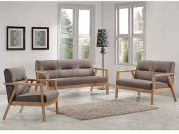 canape en bois canapés et fauteuil umea en bois et tissu taupe chiné