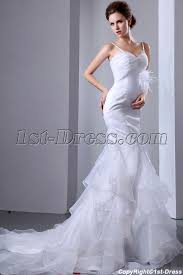 organza ostrich feathers fishtail bridal gown 1st dress com