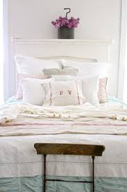 burlap bedskirt in bedroom shabby chic with white bedroom next to