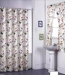 Purple Bathroom Window Curtains by Amazon Com Ruffled Double Swag Fabric Shower Curtain And Window