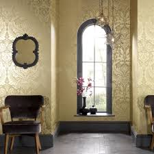 Living Room Ideas Gold Wallpaper 18 99 U0027desire U0027 Large Damask Wallpaper Metallic Gold And Mustard