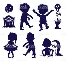 vector set of silhouettes halloween element icons zombie children
