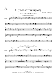3 hymns of thanksgiving trumpet 1 sheet for piano and