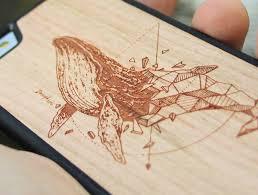 laser engraved geometric whale artwork wood iphone 7 7 plus