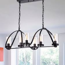 Black Chandelier With Shades Daniela Antique Black 8 Light Linear Clear Glass Cylinder