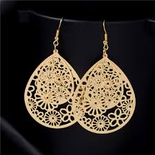 hanging earrings shuangr flower piercing hanging earrings for women big gold plated